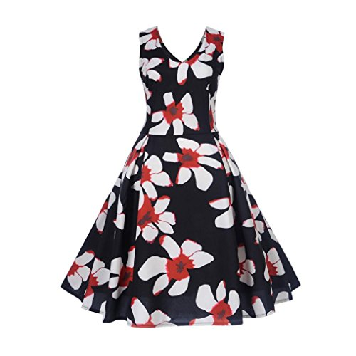 Huhu833 50er Vintage Retro ärmelloses Druck Casual Abend Party Prom ...