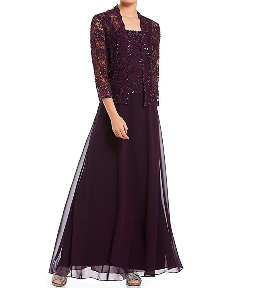 Chiffon Plus Size Mother of The Bride Dresses with Jacket Long Sleeve Formal Evening Gown