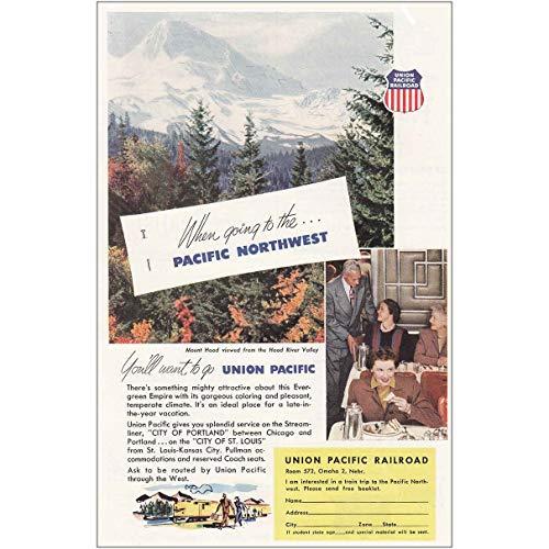 RelicPaper 1952: Union Pacific: Pacific Northwest, Mount Hood, Union Pacific Railroad Print Ad