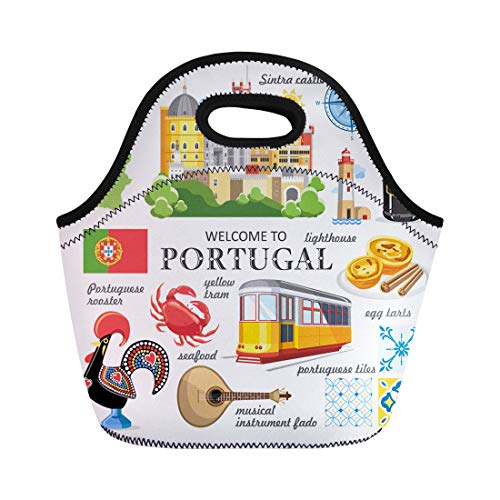 Semtomn Lunch Bags Portuguese Yellow Lisbon Portugal Travel Map Fado Sintra Rooster Neoprene Lunch Bag Lunchbox Tote Bag Portable Picnic Bag Cooler Bag (Best Portuguese Port Wine)
