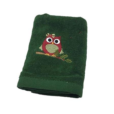 B/úho Verde NEK 2PCS 30x45cm Bordado de algod/ón de Secado r/ápido Mu/ñeco de Nieve B/úhos Reno Toallas de /árbol de Navidad Hogar Textil Cara Cabello Toalla de Mano Regalo