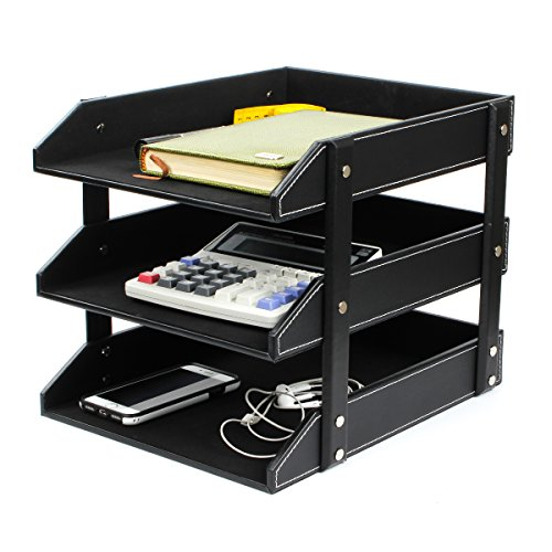 Office File Document Organizer Tray, Ezeso 3 Tier PU Leather Magazine File Holder Letter Tray Organizer Storage Rack(Black) by Ezeso