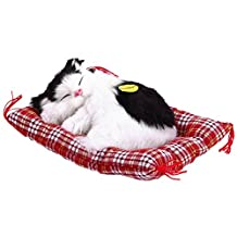 Gogoforward Lovely Simulation Animal Doll Plush Sleeping Cats Toy with Sound Kids Toy Birthday Gift Doll(white black)