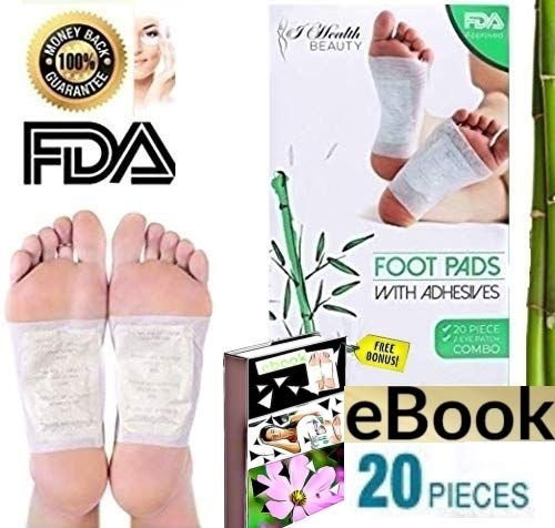 Foot Pads   All Natural Body Cleansing   20 Pain & Stress Relieving Patches + (Bonus) REJUVENATING Eye PAD   100% Organic and Natural FEET Patch