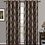 Savanna Mocha Grommet Jacquard Window Curtains Drapes, Pair / Set of 2 Panels, 52×108 inches Each, by Royal Hotel For Sale