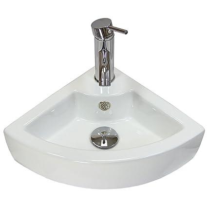 Cloakroom Hand Sink Corner Wash Basin Bathroom Wall Mounted Small