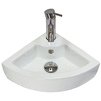 Cloakroom Hand Sink Corner Wash Basin Bathroom Wall Mounted Small White  Ceramic Bowl   With FREE
