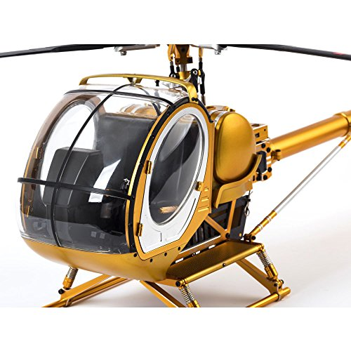 JCZK-300C Hughes RC Helicopter Brushless 9CH RTF All Metal High Simulation Remote Control Helicopter Static Aircraft Hobby Model (Gold)