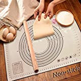 XXL Size Silicone Baking Mat(32x 24 Inch) Pastry Mat with Measurements Non-slip& Non-Stick Reusable Rolling Mat with two free cookie cutters, BPA Free and Heat Resistant - Ideal for Rolling Dough