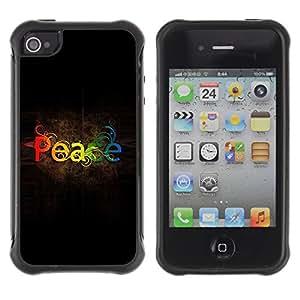 Híbridos estuche rígido plástico de protección con soporte para el Apple iPhone 4 / 4S - weed rainbow spectrum text
