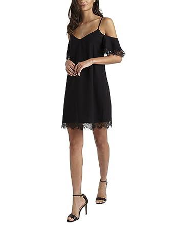 LIPSY Womens Lace Trim Cold Shoulder Dress Black US 0 (UK 4)