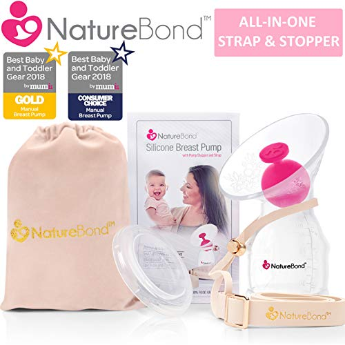 Naturebond Manual Breast Pump Silicone Breastfeeding Milk Saver Nursing Pump All In 1 Pump Strap Stopper Cover Lid Carry Pouch Air Tight Vacuum Sealed In Hardcover Gift Box Bpa Free
