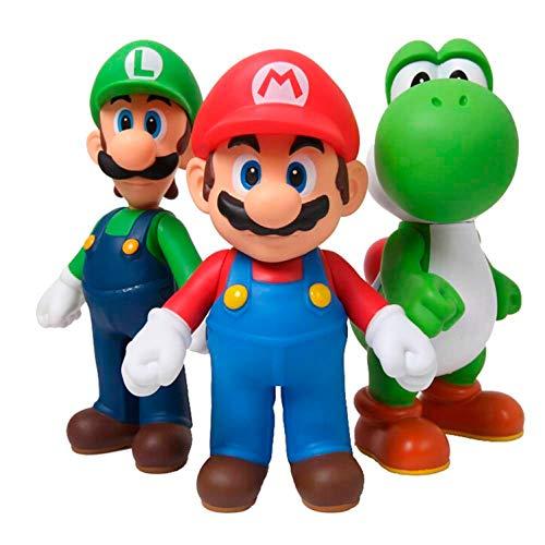 (3 Pieces of Super Mario Bros Luigi Mario Action Figures Toys Doll)