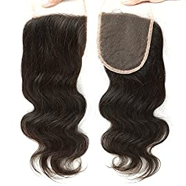 BLACKMOON HAIR Free Part Lace Closure Body Wave 4″×4″ Brazilian Virgin Human Hair Lace Closure Free Part 130% Density Swiss Lace With Bleached Knots Natural Color Silky And Soft 18 Inch
