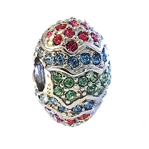 - Sterling Silver Large Easter Egg Bead Charm with Multi Swarovski Crystal