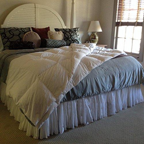 Custom White Voile Fuller Ruffle Bed Skirt any size - detachable option -