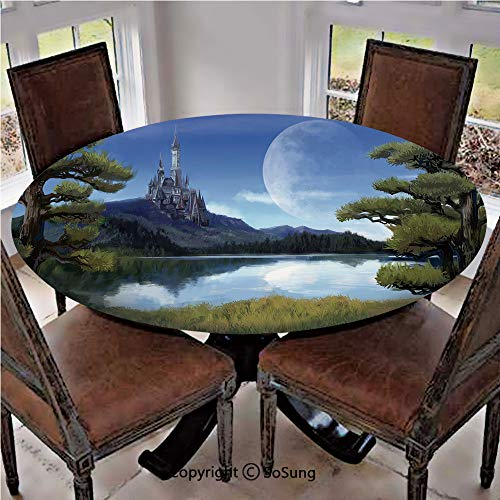 Elastic Edged Polyester Fitted Table Cover,Moon Surreal Scene with Riverside Lake Forest and Medieval Castle on Hill Art,Fits up 56