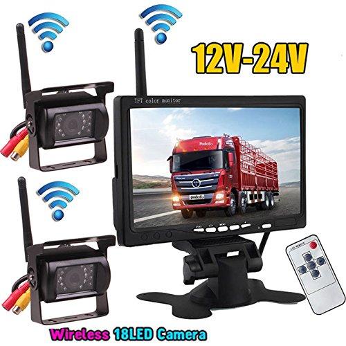 2.4 G Wireless 17,8 cm a colori TFT LCD monitor per camper Bus camion rimorchio 12V-24V 2 x wireless LED a infrarossi per visione notturna impermeabile backup telecamera posteriore