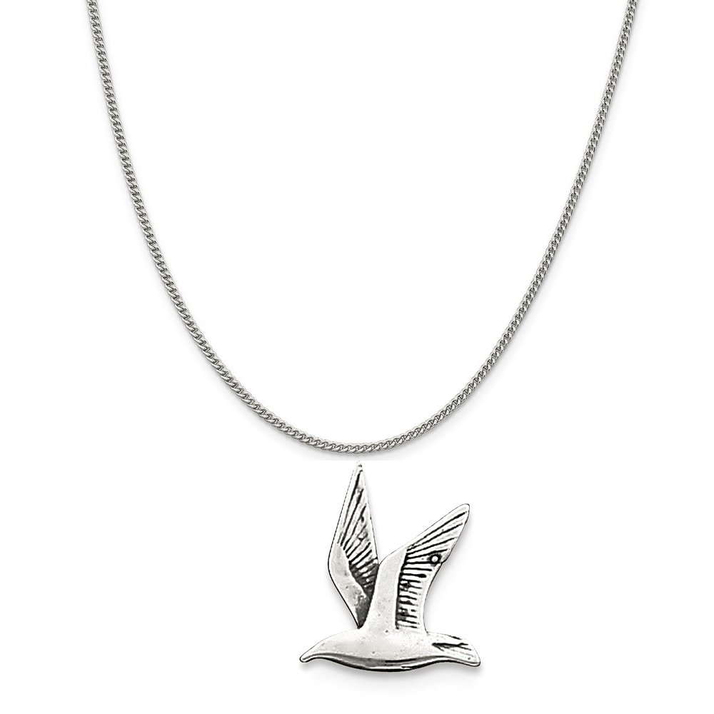 16-20 Mireval Sterling Silver Antiqued Seagull Charm on a Sterling Silver Chain Necklace