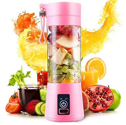 Amazon-brand Portable Blender, Personal Size Electric Rechargeable USB Juicer Cup, Fruit Mixer Machine with 4 Blades for Home and Travel (380 ml, Multicolor)