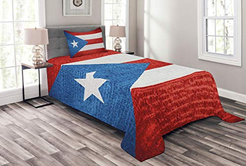 Lohebhuic Puerto Rico Bedspread Stripe Style Rows Pattern Grunge Arrangement with Patriot Flag Decorative Quilted 2 Piece Coverlet Set with Pillow Sham