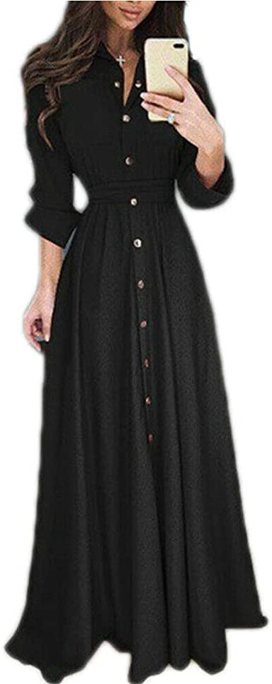 Nuofengkudu Women's Pleated Long Sleeve Party Cocktail Long Maxi Dresses Button Down Shirt Dress with Pockets