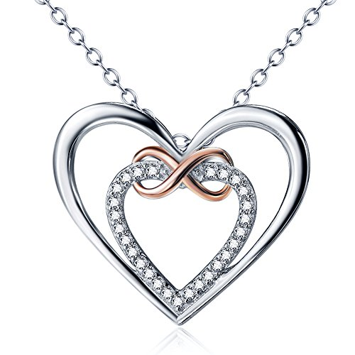 Double Heart Pendant Jewelry (Gifts for WomenBest Gift for Teen Girl 925 Sterling Silver Double Love Heart Rose Gold Infinity Paved CZ Pendant Necklace for Women Present for Wife PRINCESS NINA)