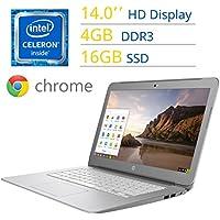 2017 HP 14'' Premium Chromebook HD SVA (1366 x 768) WLED Display, Intel Dual Core Celeron Processor, 4GB DDR3L SDRAM, 16GB eMMc, Stereo speakers, WIFI, Bluetooth, HDMI, HD Webcam, Chrome OS