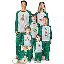 PajamaGram Fun The Grinch Pajamas - Family Christmas Pajamas Set, Gray, Girl, 14