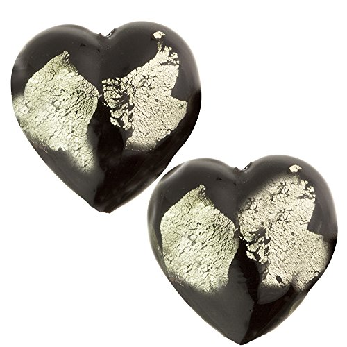 Silver Foil Glass Heart - Murano Glass Bead Abstract Heart 13mm Black and Gray Silver Foil, 2 Pieces