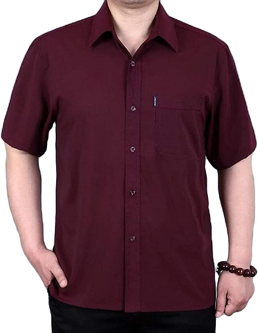 Joe Wenko Men Casual Short Sleeve Plus Size Button Down Summer Shirts