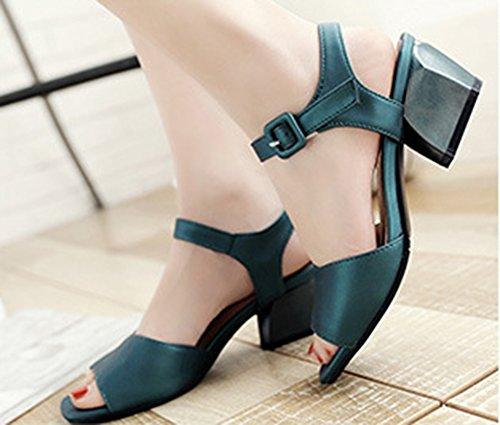 Aisun Womens Simple Open Teen Gesp Enkelbandje Dress Block Medium Hakken Sandalen Schoenen Groen