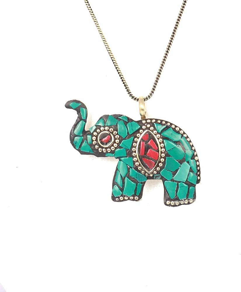 IndoTribe Tribal Jewelry Pendant Necklace for Women Green Pendant Tibetian Pendant Necklaces for Women Traditional Indian Jewelry for Women Tribal Choker Pendants for Women Tribal Necklace for Women