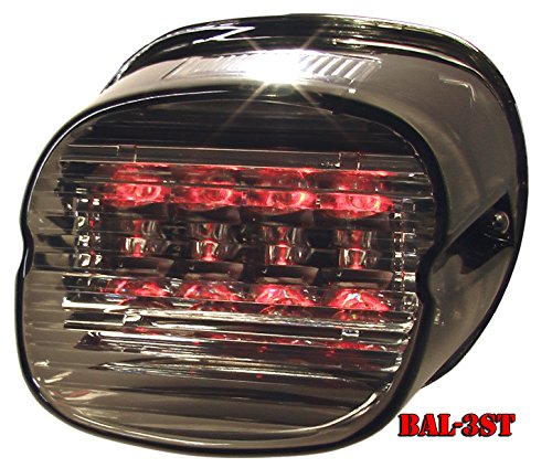 Bright Ass Lights Taillight with Multiple Strobe Patterns for Harley Davidson Models - Laydown Style with Smoked Lens and License Plate Window