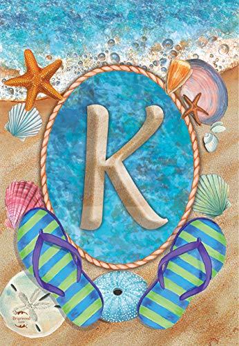 Briarwood Lane Summer Monogram Letter K Garden Flag Flip Flops Seashells 12.5