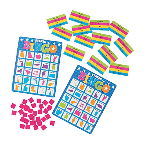 Fun Express States Premium Bingo Game | 1 Unit, 676 Pieces | Great for Students, History Class, Social Study, Geography Subject, Party Favors, Parlor Games