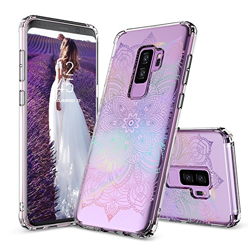 Galaxy S9 Plus Case, Galaxy S9 Plus Clear Case, MOSNOVO Gradient Rainbow Henna Mandala Clear Design Transparent Plastic Case with TPU Bumper Protective Case Cover for Samsung Galaxy S9 Plus (2018)
