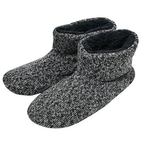 SunbowStar Men's Faux Fur Lined Knit Anti-Slip Indoor Slippers Boots House Slipper Bootie,Black-12 D(M) ()