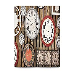 YOLIYANA Clock Decor Warm Door Curtain,Antique Clocks on The Wall Instruments of Time Vintage Decorative Pattern for Kitchen,37''Wx59''H