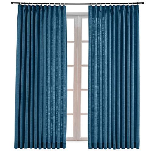 ChadMade Faux Linen Pinch Pleated Drape Room Darkening Curtain Sliding Glass Door Living Room,72