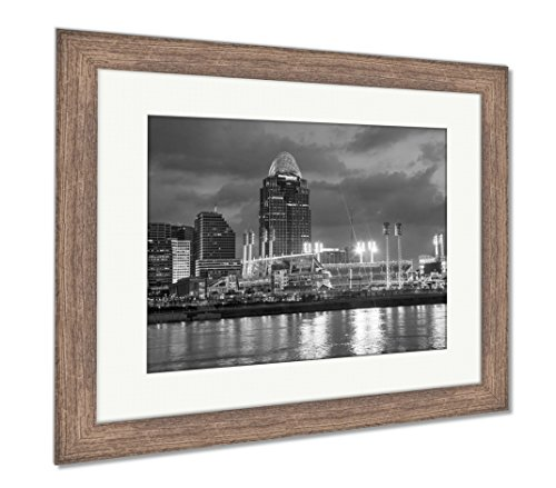Ashley Framed Prints Great American Ball Park Stadium, Wall Art Home Decoration, Black/White, 34x40 (frame size), Rustic Barn Wood Frame, AG6115024
