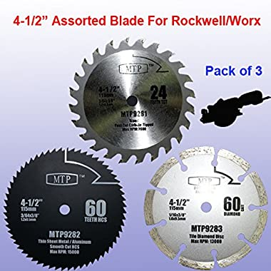 Pack of 3 Assorted Metal/wood/tile 4-1/2  4.5 inch Circular Saw Blade for Rockwell Rk3441k , Worx WX429L RW9281