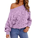 WOCACHI Winter Womens Sweater Off Shoulder Skew Neck Pullover Sweatshirt Solid Jumpers Bottoming Long Sleeves Sale Autumn Blouses Tops