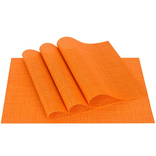 Zupro PVC Weave Placemats Dining Table Mat Anti-Slip,Heat Insulation PlaceMat,Set of 4, Six Color Available (Orange Place)