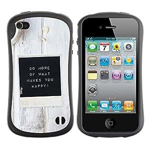 Paccase / Suave TPU GEL Caso Carcasa de Protección Funda para - White Black Coffee Inspirational Message - Apple Iphone 4 / 4S