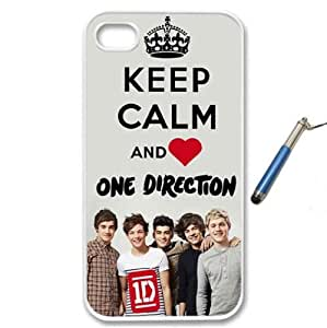 For Apple iPhone 4 4G 4S Love One Direction Boy Band 1D Keep Calm Design WHITE Sides Slim HARD Case Skin Cover Protector Accessory