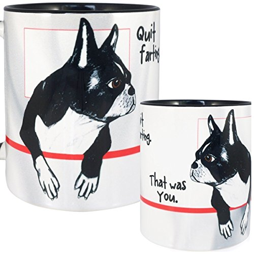 (Farting Boston Terrier Mug by Pithitude - One Single 11oz. Black Coffee Cup)