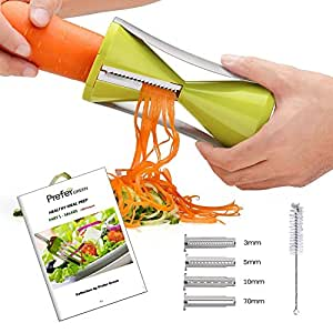 Prefer Green Spiralizer Spiral Slicer - 4 Blade & Clean Brush & 100 Healthy Recipes (E-book)