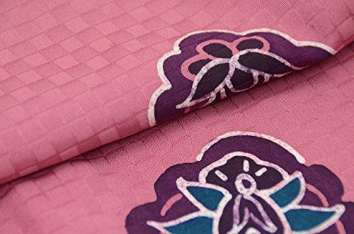 着物 コート 中古 リサイクル 正絹 道行衿 市松文様 裄65.5cm はおり ピンク系 裄Mサイズ ll0286c