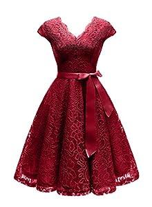 Vinvv Women's Short Vintage Floral Lace Dress V-Neck Cap Sleeve Belt Bridesmaid Party Cocktail Dress